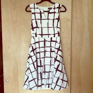 Navy and White Geometric Print Dress - The Limited
